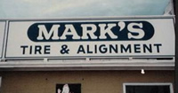 Mark's Tire Alignment sign