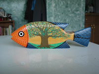 painted wooden fish