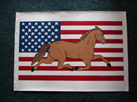 painted american flag with horse