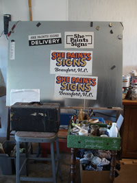 sign painting workspace